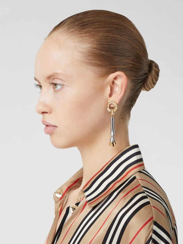 Resin and Gold-plated Hoof Drop Earrings in Honey - Women | Burberry - cell image 2