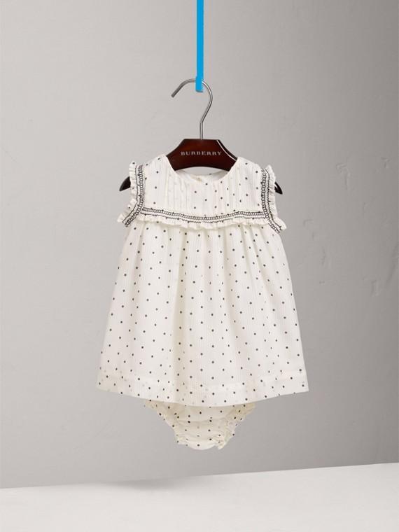 Vestido de seda e algodão com calcinha e detalhe plissado (Preto/branco)