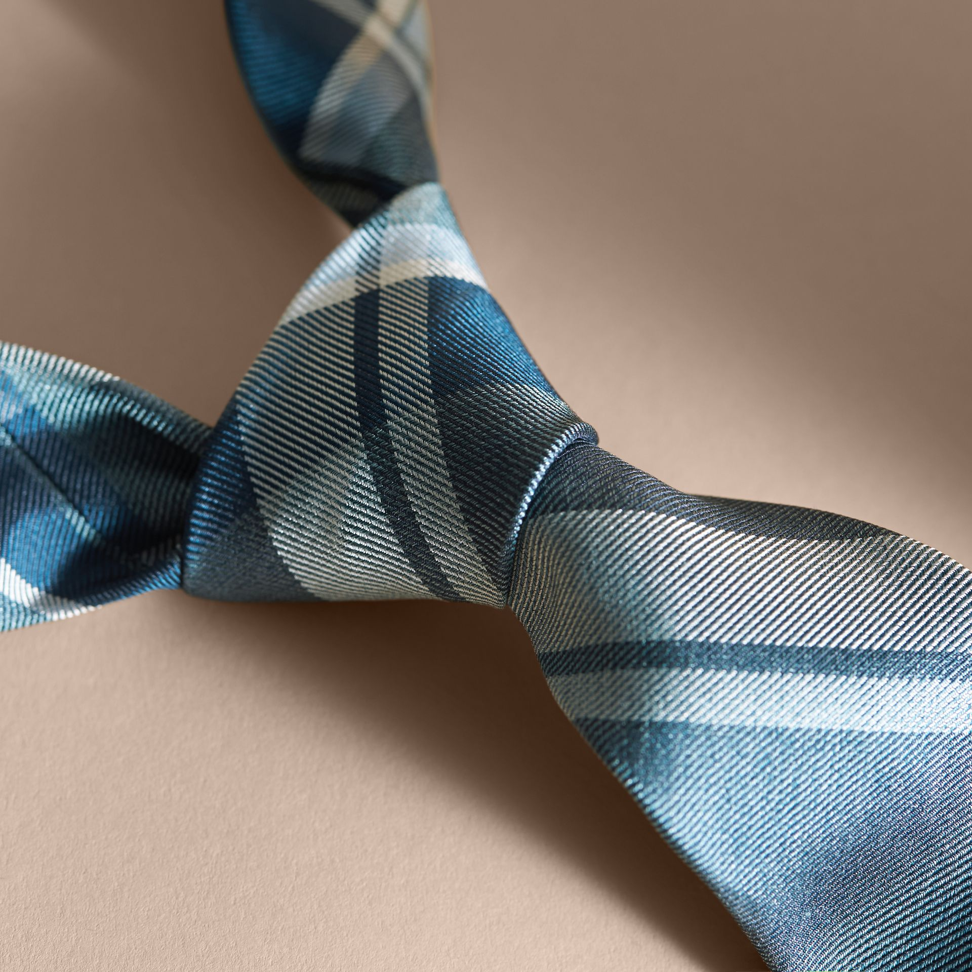 Modern Cut Check Jacquard Silk Tie in Pale Celadon - Men | Burberry - gallery image 2
