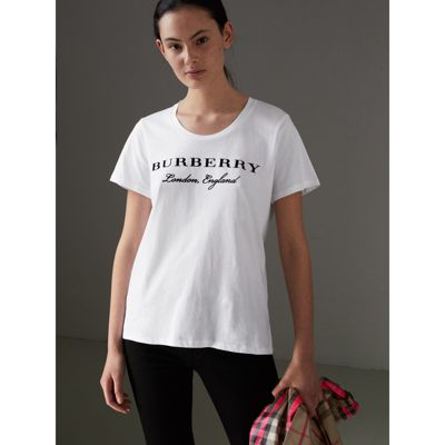 Discount Wholesale Printed Cotton T-shirt - White Burberry Best Cheap Price Deals Clearance Cheapest Price Pay With Visa Cheap Price sWqZkCxpEo