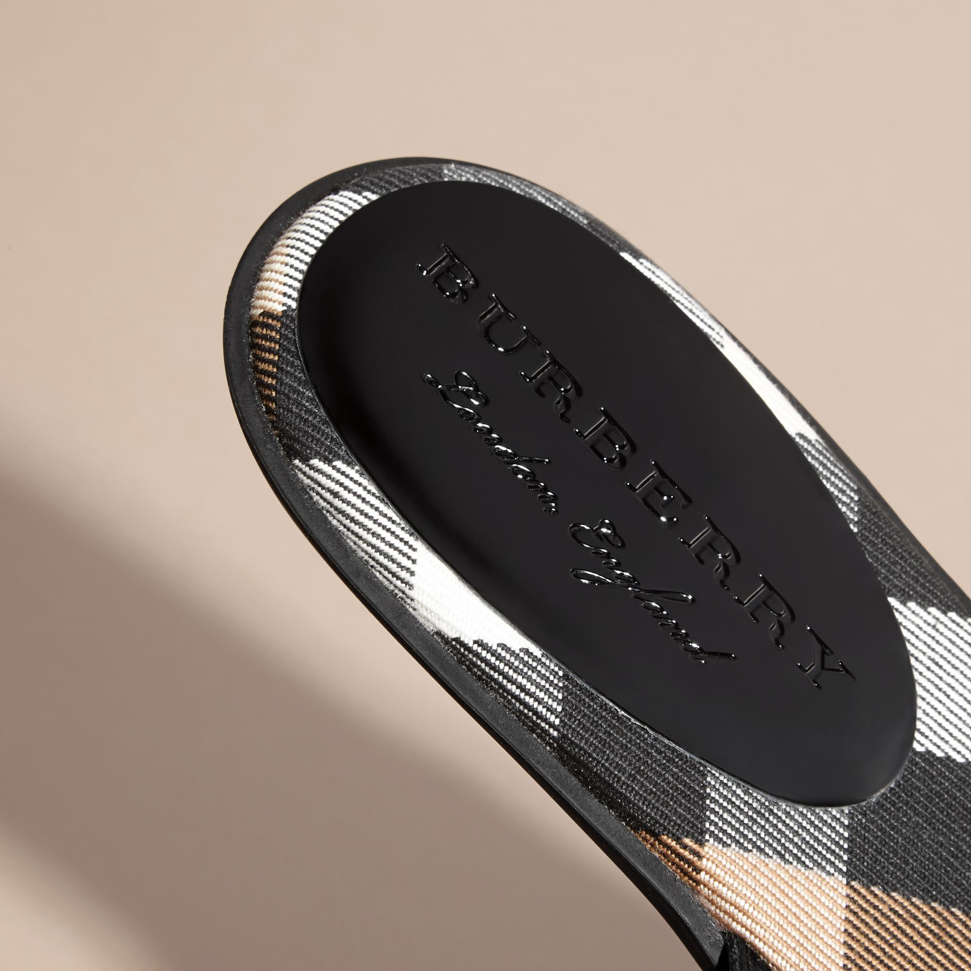 House Check and Patent Leather Sandals in Black - Women | Burberry - gallery image 5