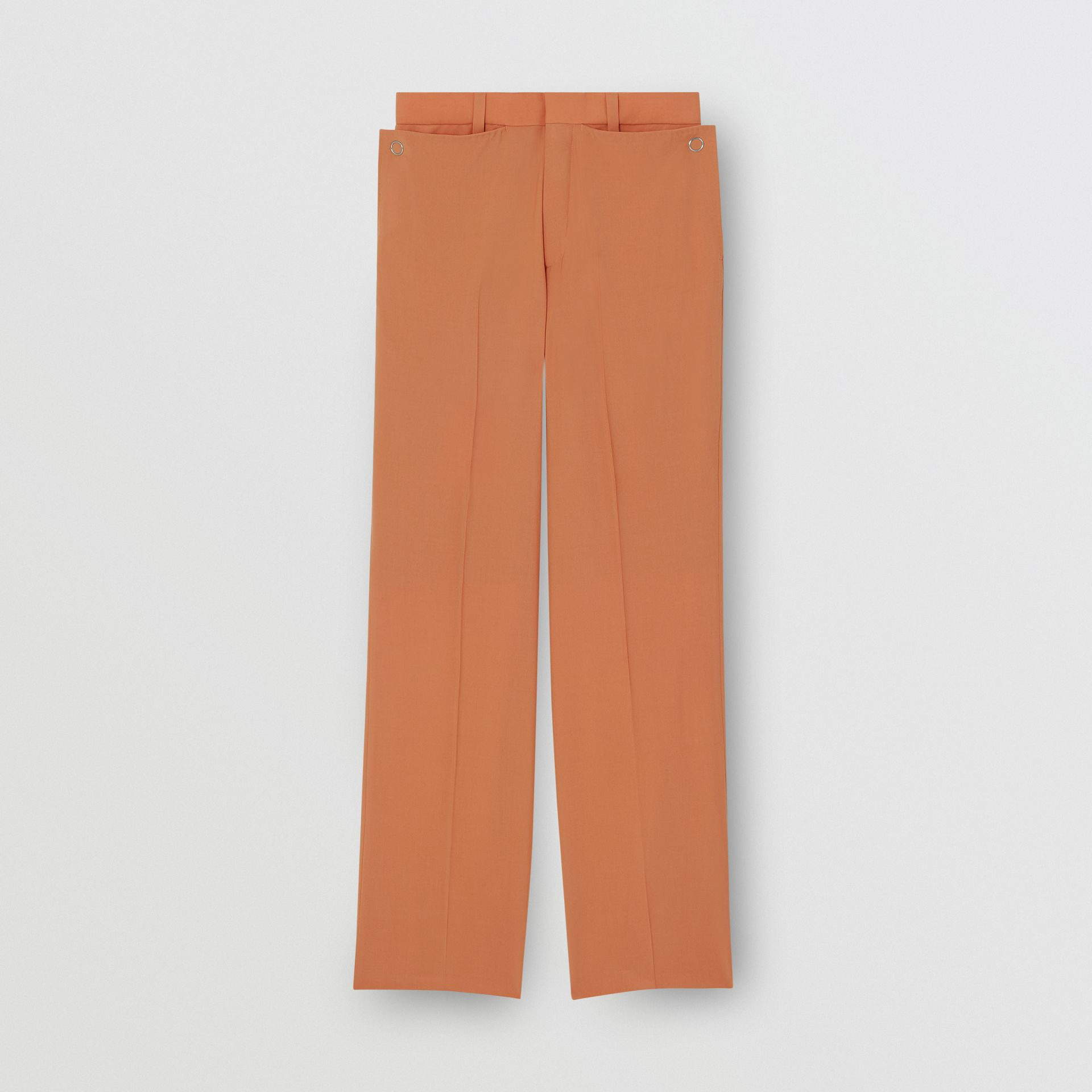 Tumbled Wool Wide-leg Trousers in Orange | Burberry - gallery image 3
