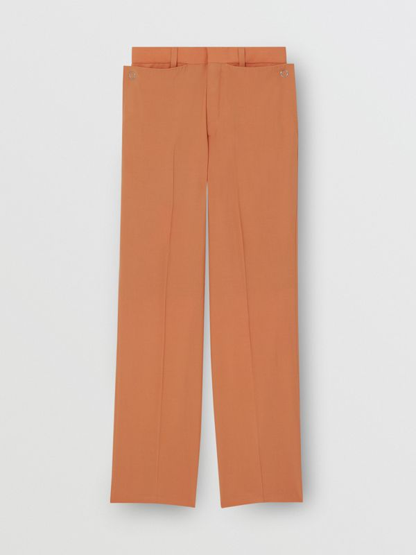 Tumbled Wool Wide-leg Trousers in Orange | Burberry United States - cell image 3