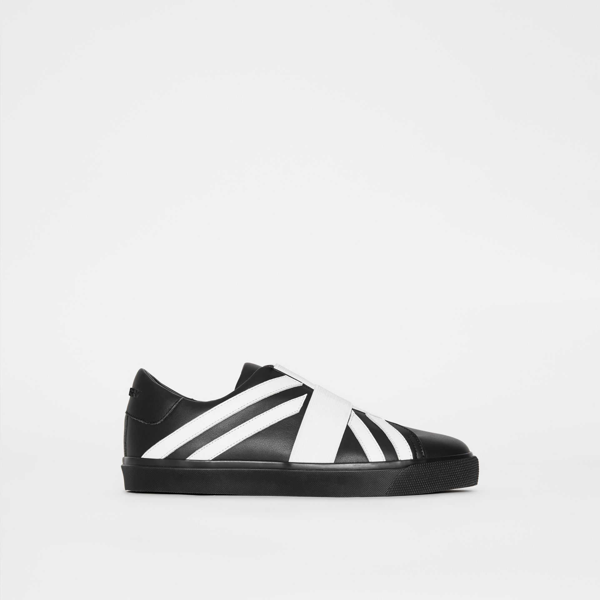 Union Jack Motif Slip-on Sneakers in Black/optic White - Women | Burberry - gallery image 5
