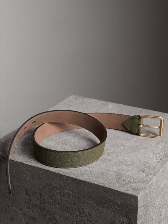 Grainy Leather Belt in Slate Green - Men | Burberry - cell image 3