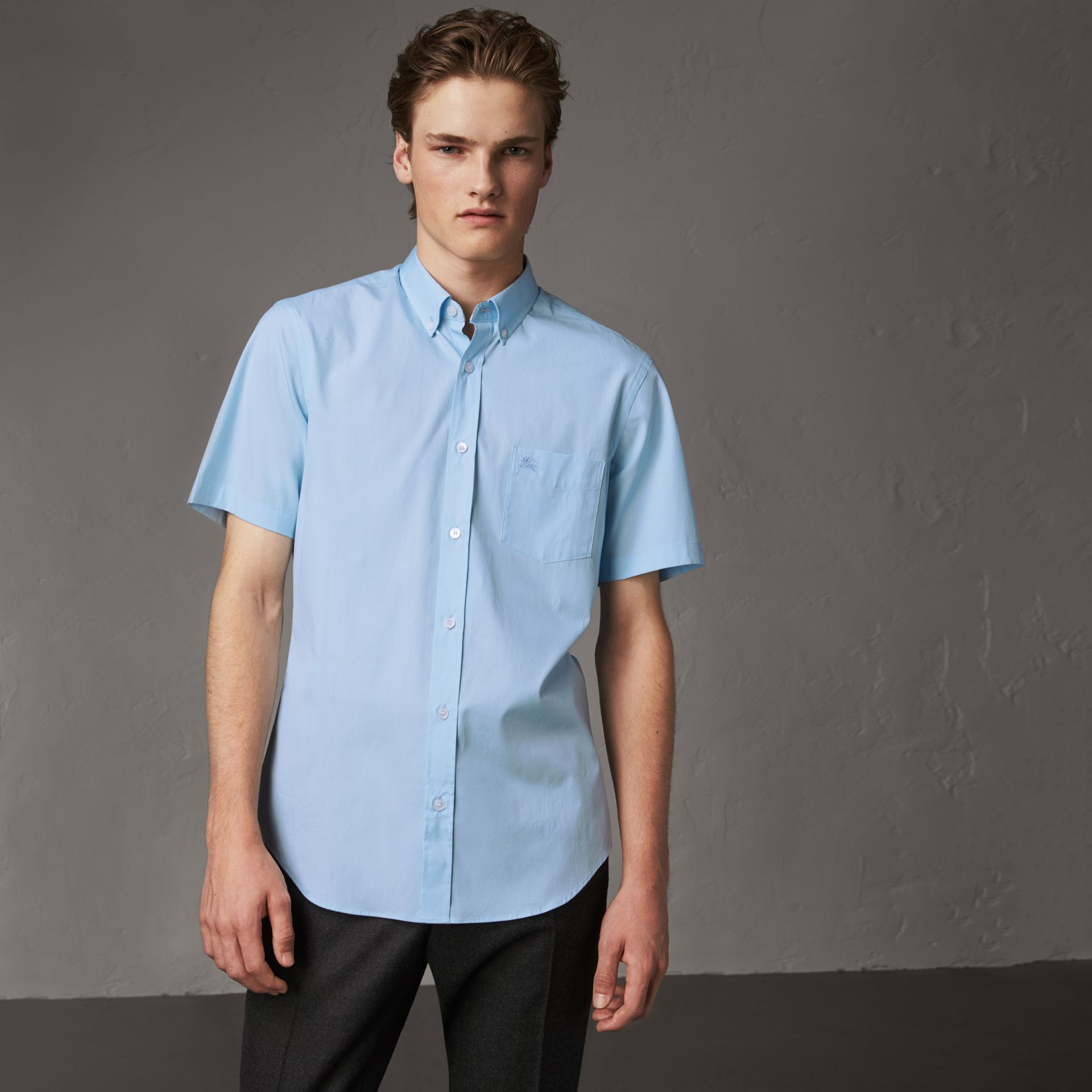 Short-sleeved Stretch Cotton Poplin Shirt in Pale Blue - Men | Burberry - gallery image 0