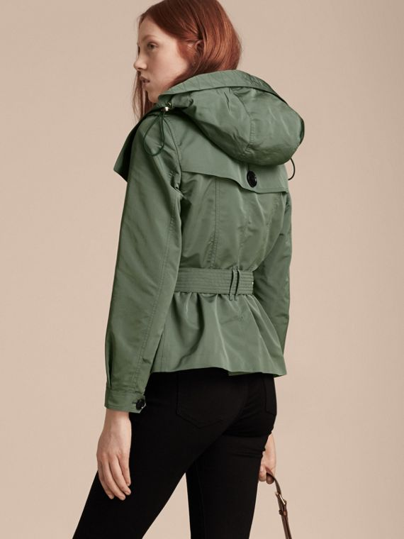 Eucalyptus green Showerproof Taffeta Trench Jacket with Detachable Hood Eucalyptus Green - cell image 2