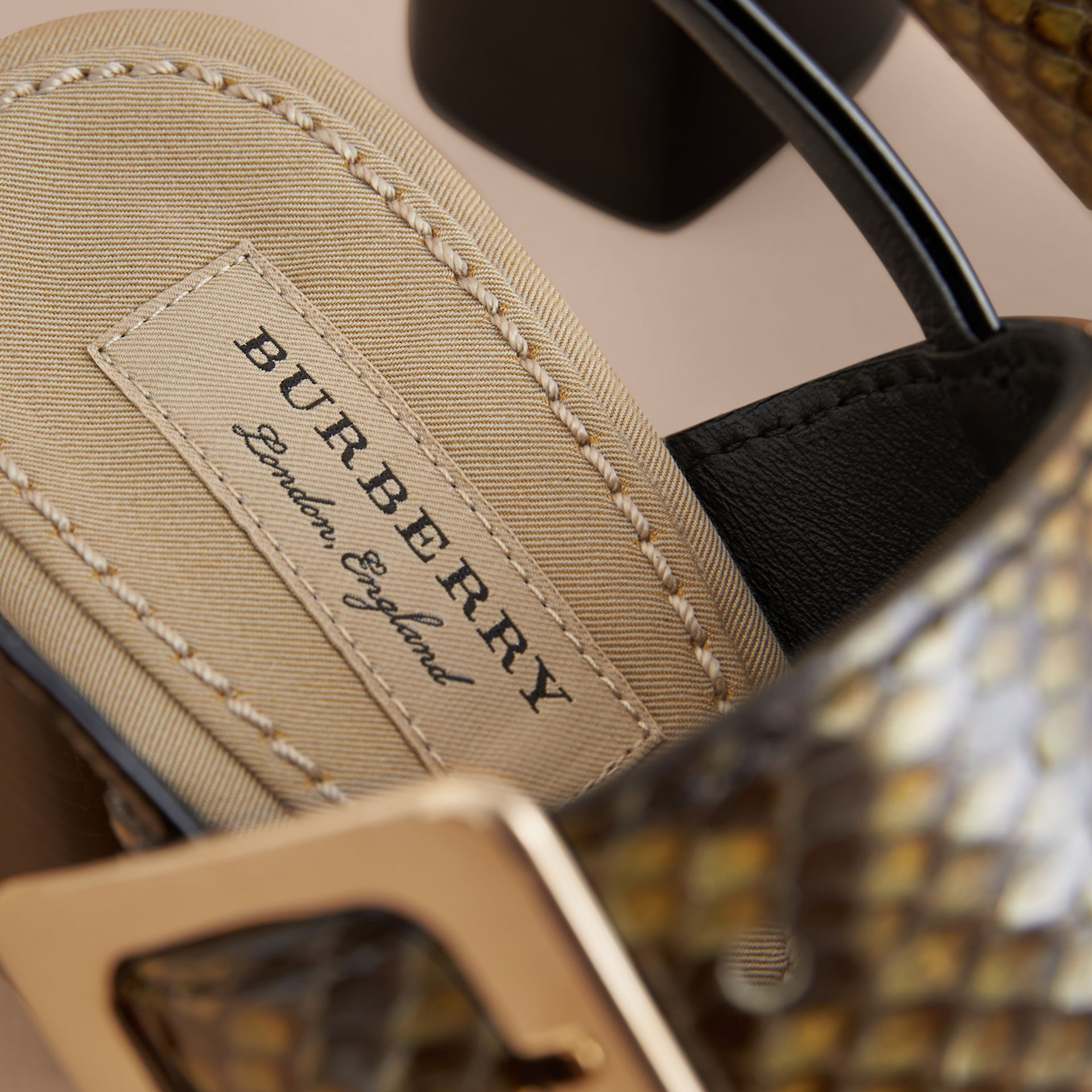 Python and Leather Sandals with Buckle Detail - Women | Burberry - gallery image 5
