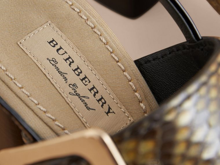 Python and Leather Sandals with Buckle Detail - Women | Burberry - cell image 4