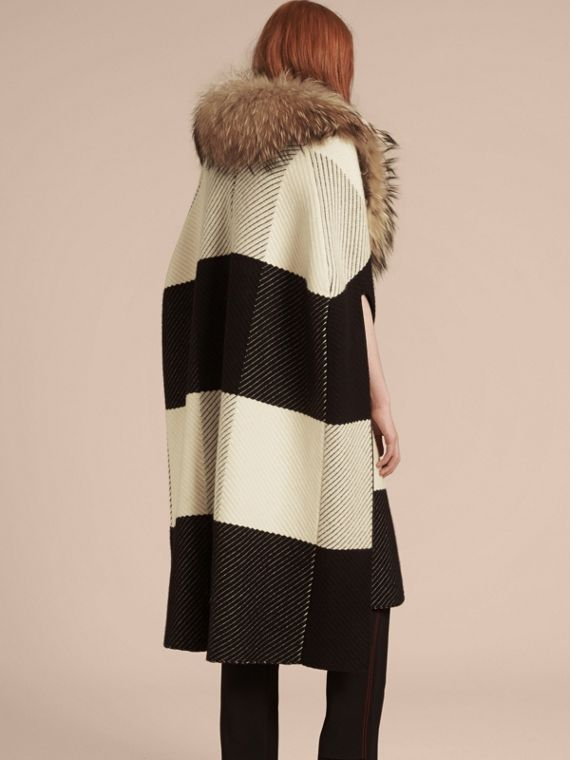 Black/white Check Cashmere Wool Blend Poncho with Raccoon Collar - cell image 2