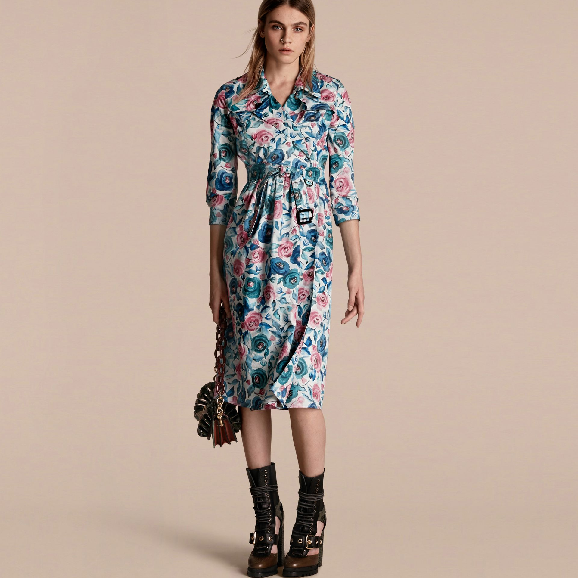 Teal blue Watercolour Rose Print Cotton Silk Trench Dress - gallery image 1
