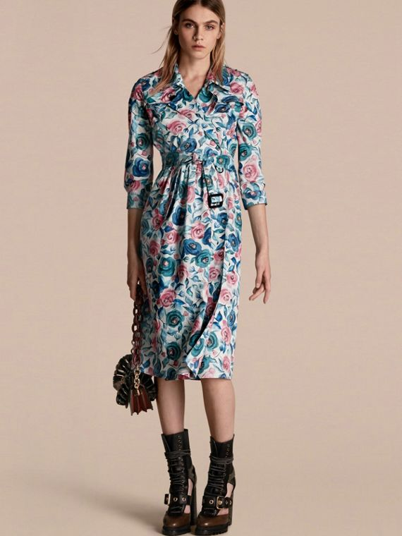 Watercolour Rose Print Cotton Silk Trench Dress