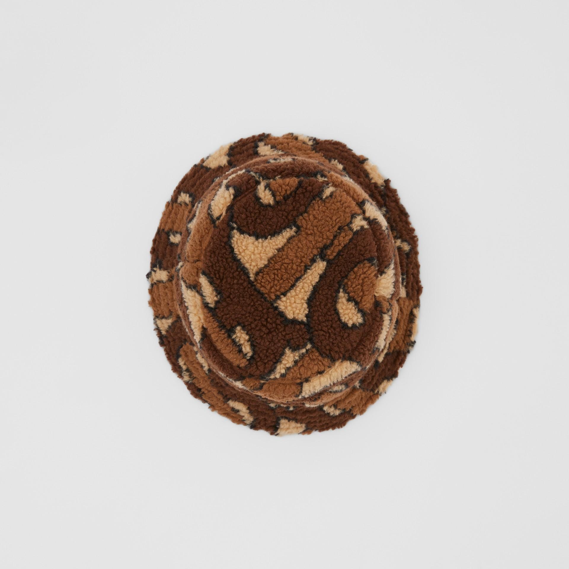 Monogram Fleece Bucket Hat in Bridle Brown | Burberry - gallery image 0