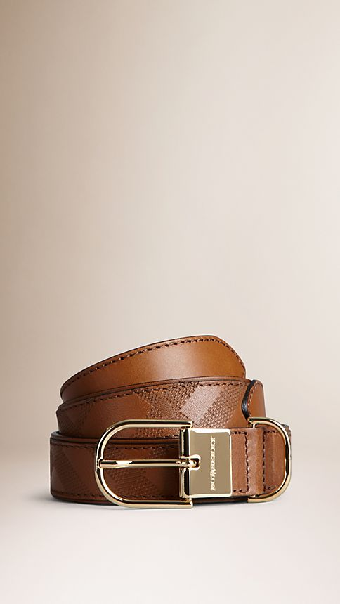 Tan Embossed Check London Leather Belt Tan - Image 1