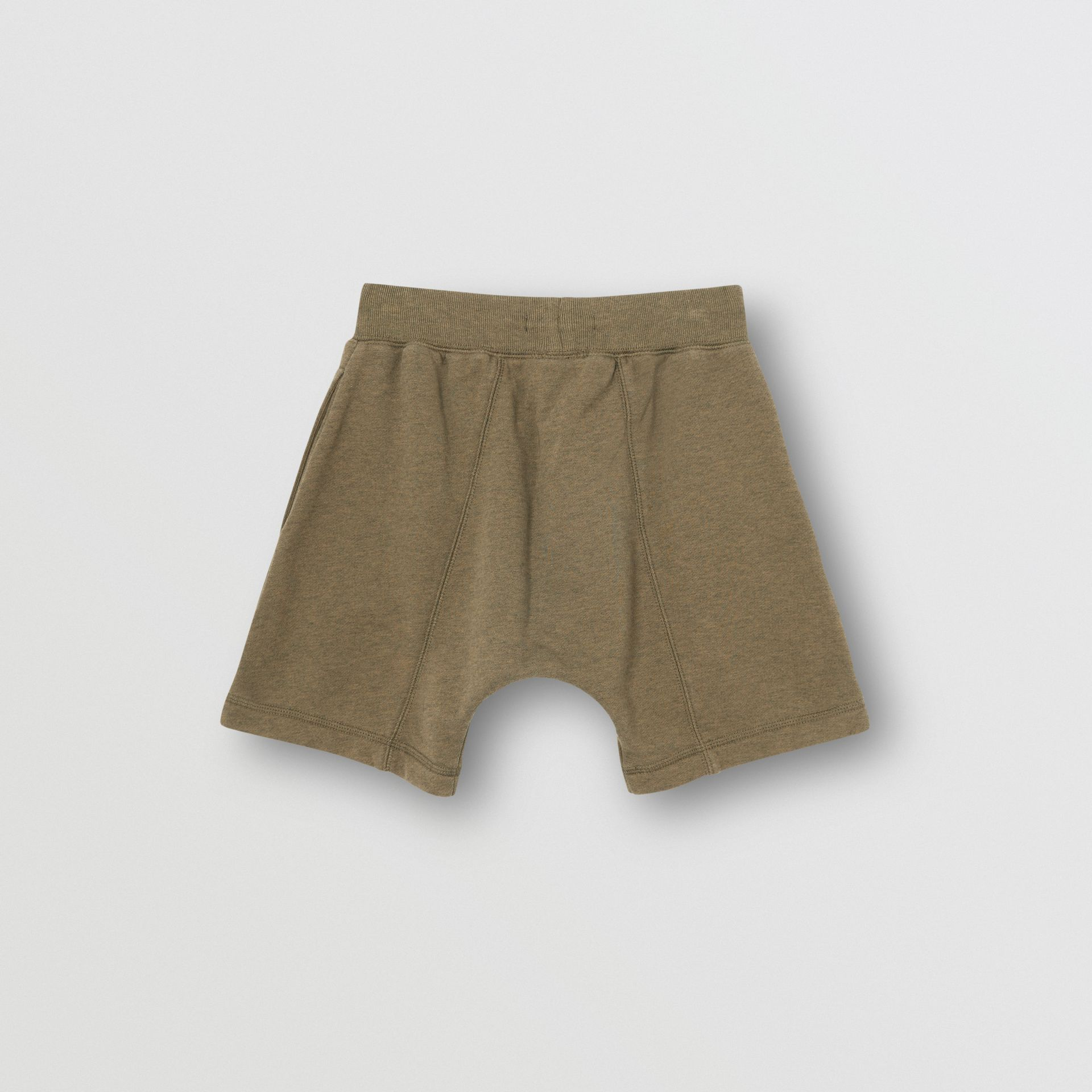 Logo Detail Cotton Drawcord Shorts in Military Olive | Burberry Singapore - gallery image 3