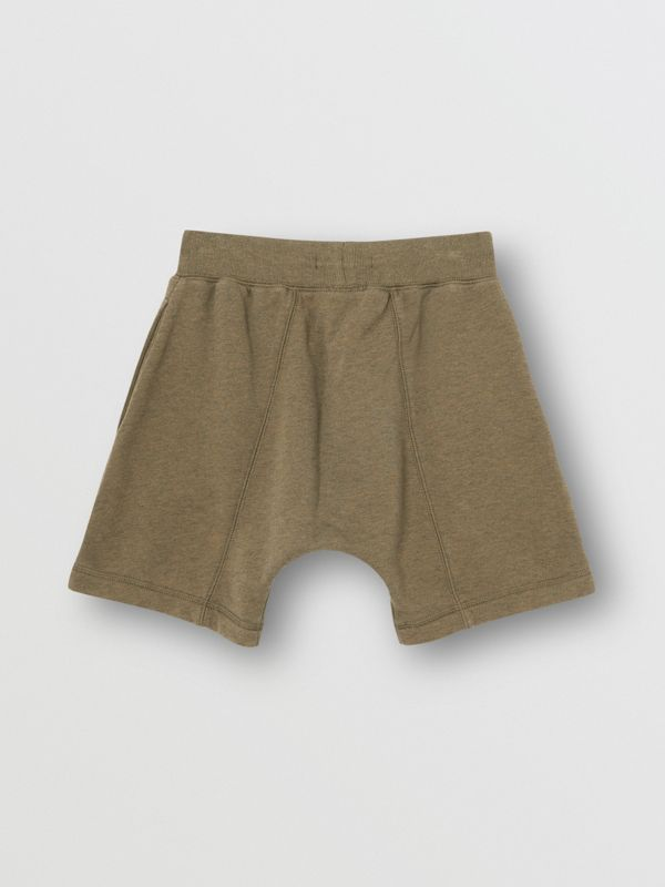 Logo Detail Cotton Drawcord Shorts in Military Olive | Burberry - cell image 3