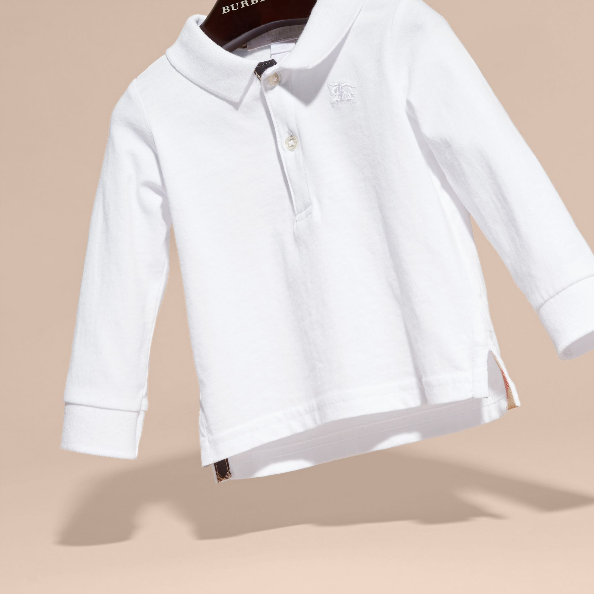 Check Trim Long-sleeved Cotton Polo Shirt in White | Burberry - gallery image 3