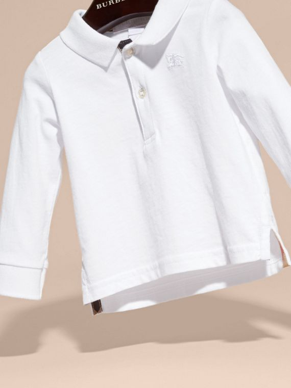 White Check Trim Long-sleeved Cotton Polo Shirt White - cell image 2