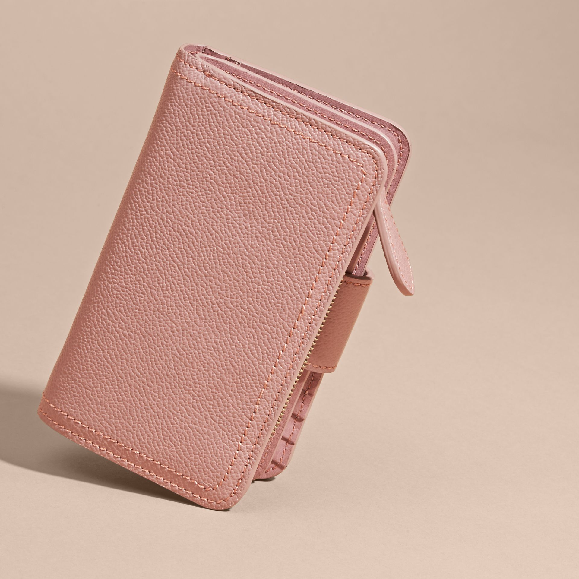 Dusty pink Buckle Detail Grainy Leather Wallet Dusty Pink - gallery image 4