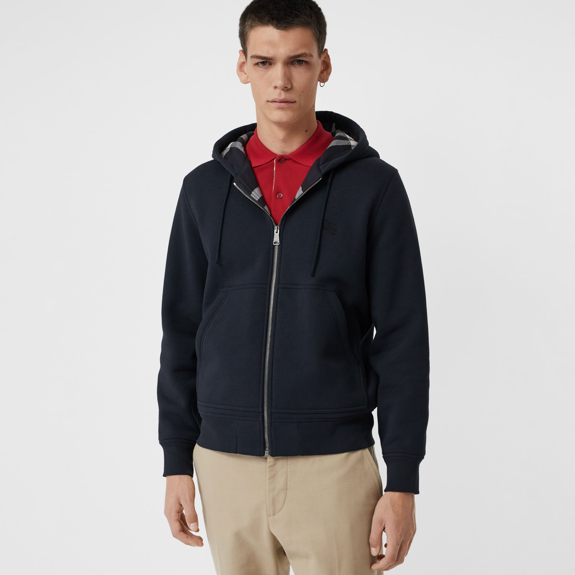 Check Detail Jersey Hooded Top in Navy - Men | Burberry - gallery image 4