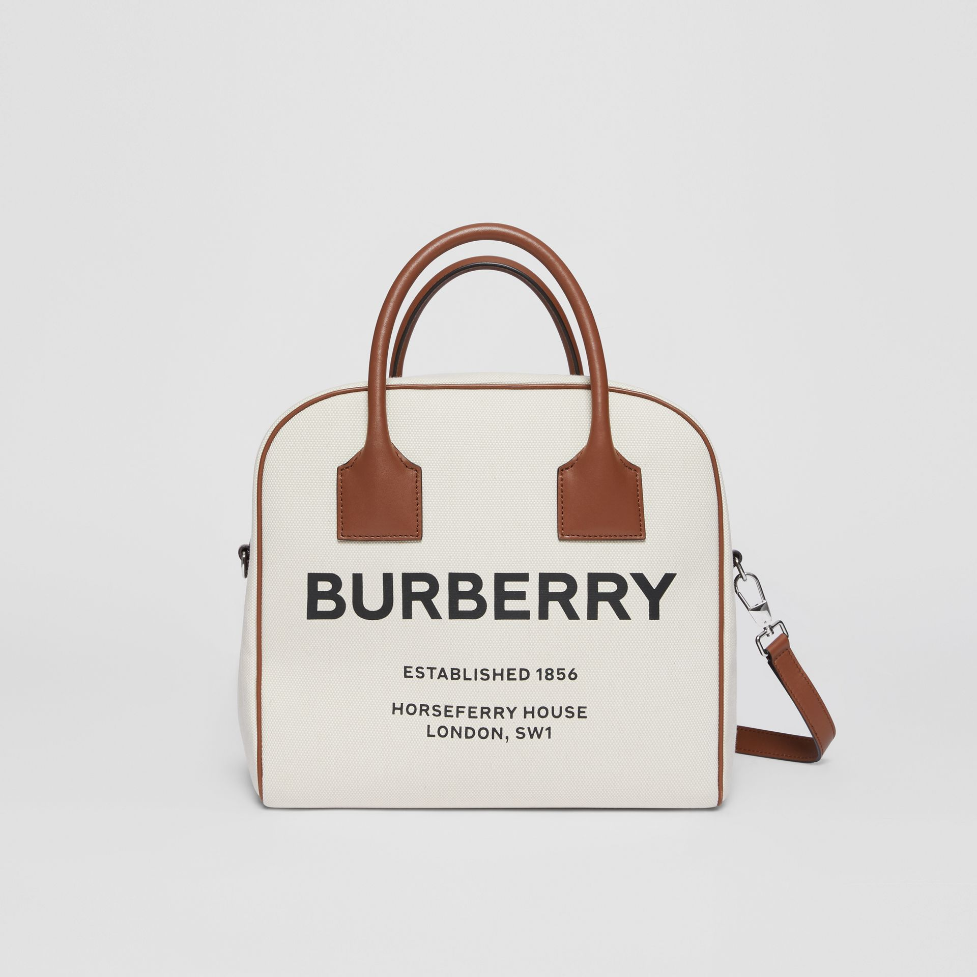 Borsa Cube media in tela con stampa Horseferry (Naturale/marrone Malto) - Donna | Burberry - immagine della galleria 0