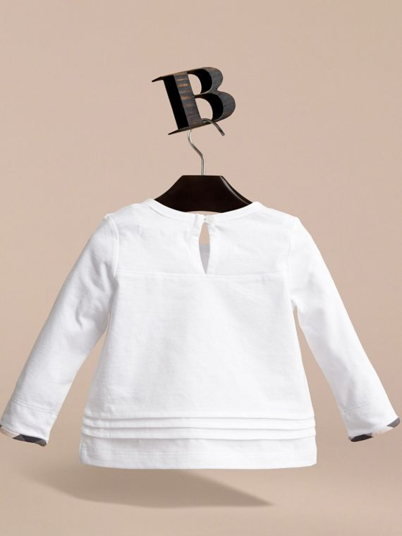 Pleat and Check Detail Cotton Top in White | Burberry - cell image 3