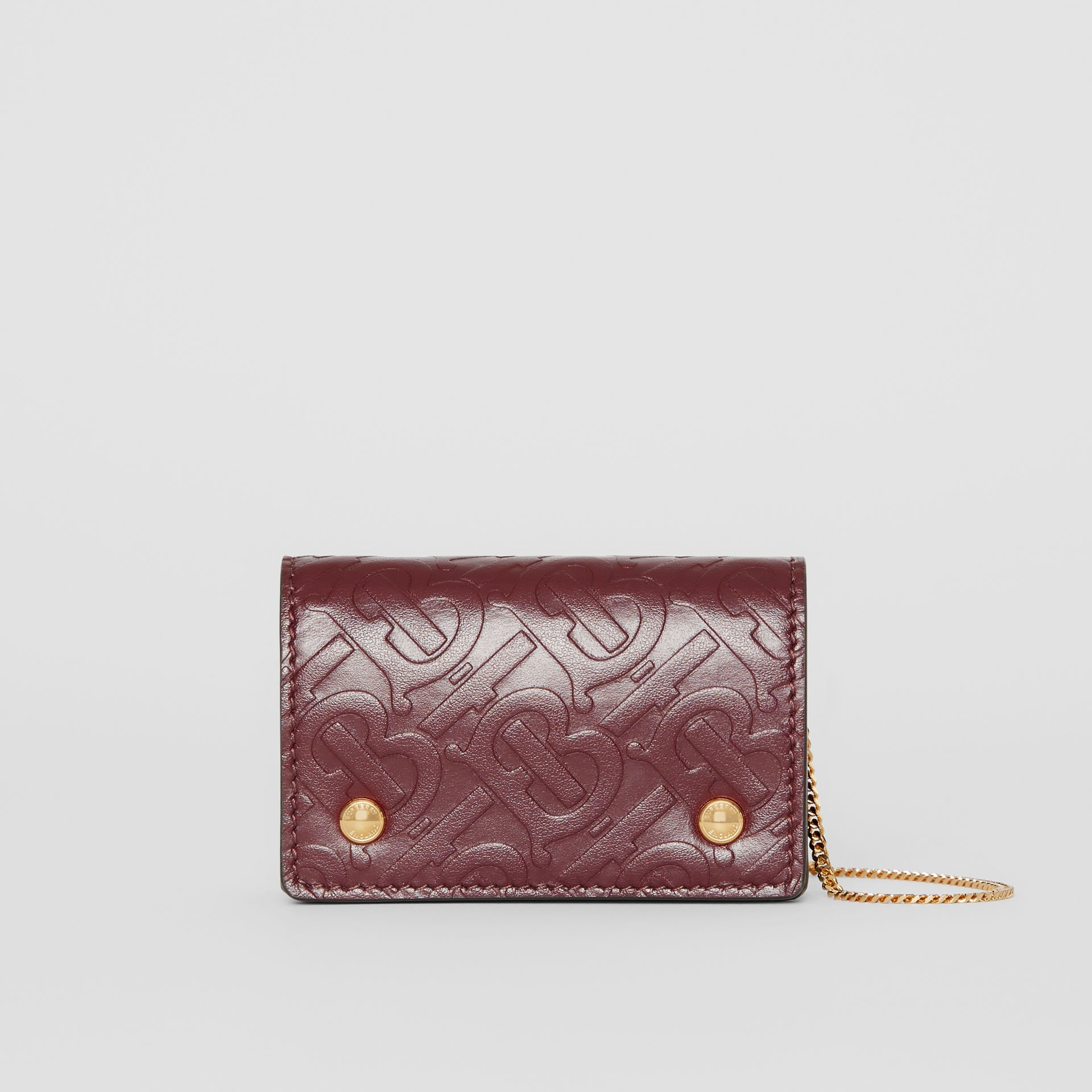 Monogram Leather Card Case with Detachable Strap in Oxblood - Women | Burberry - gallery image 0