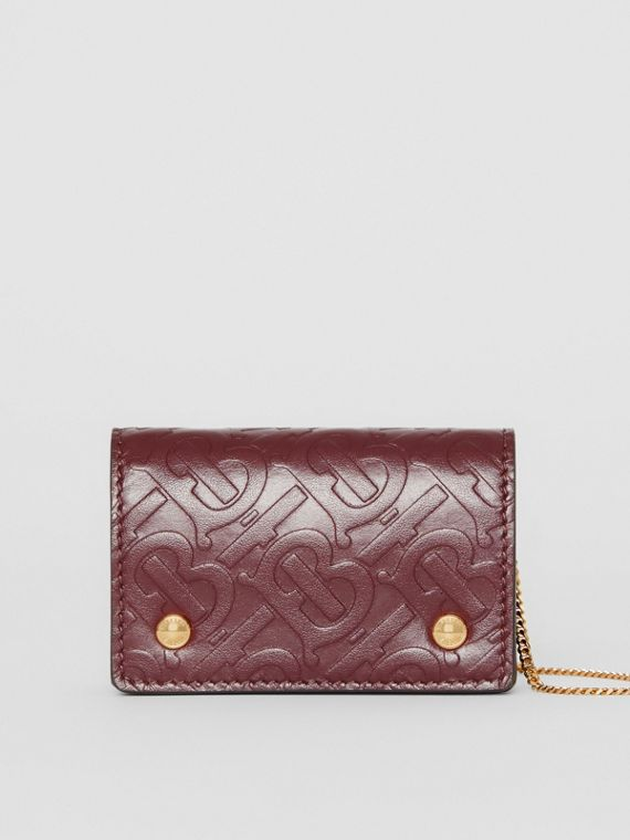 Monogram Leather Card Case with Detachable Strap in Oxblood