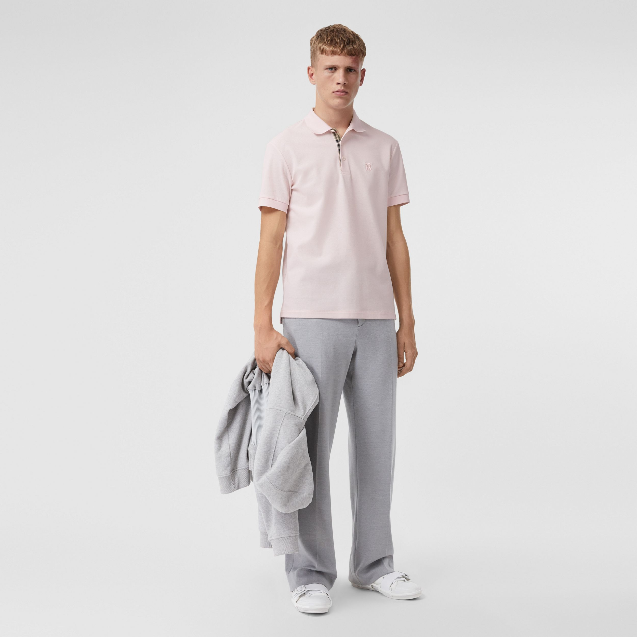 Monogram Motif Cotton Piqué Polo Shirt in Alabaster Pink - Men | Burberry - 1