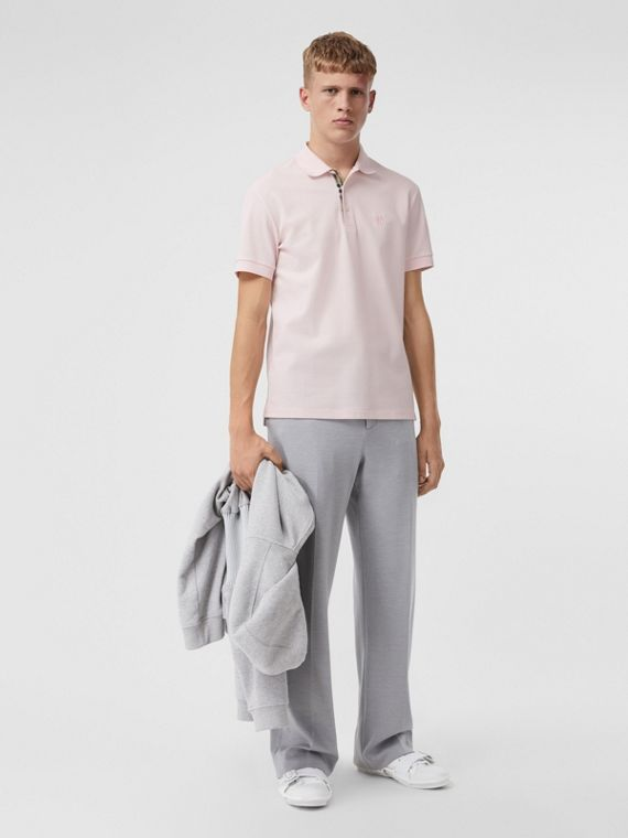 Monogram Motif Cotton Piqué Polo Shirt in Alabaster Pink