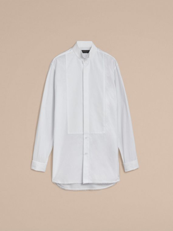 Macramé Trim Cotton Evening Shirt in White - Men | Burberry - cell image 3
