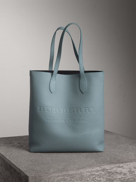 Medium Embossed Leather Tote in Dusty Teal Blue