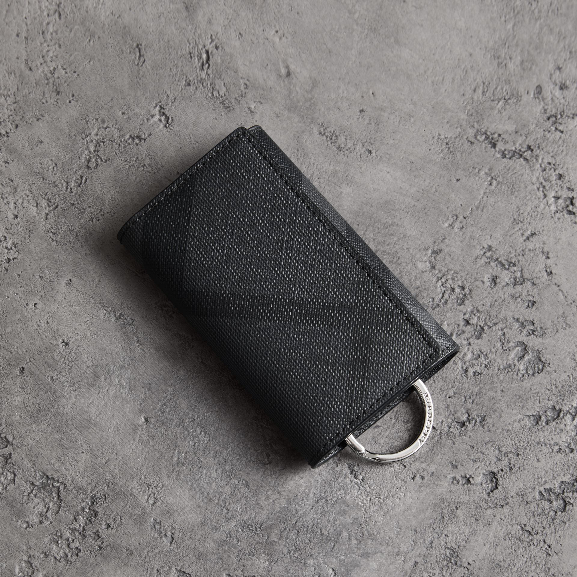 Leather Trim London Check Key Case in Charcoal/black - Men | Burberry - gallery image 0