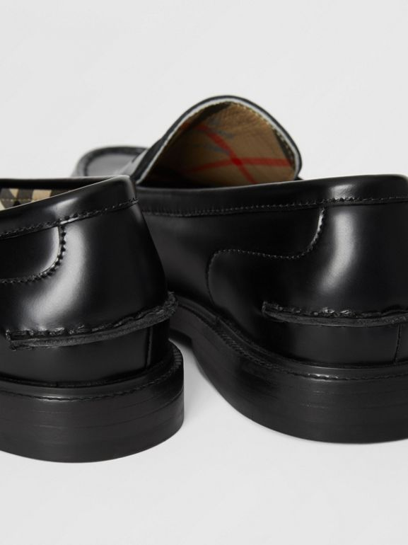 Smooth Leather Loafers in Black - Children | Burberry - cell image 1
