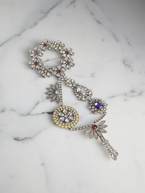 Crystal Daisy Chain Chandelier Brooch in Pale Lavender