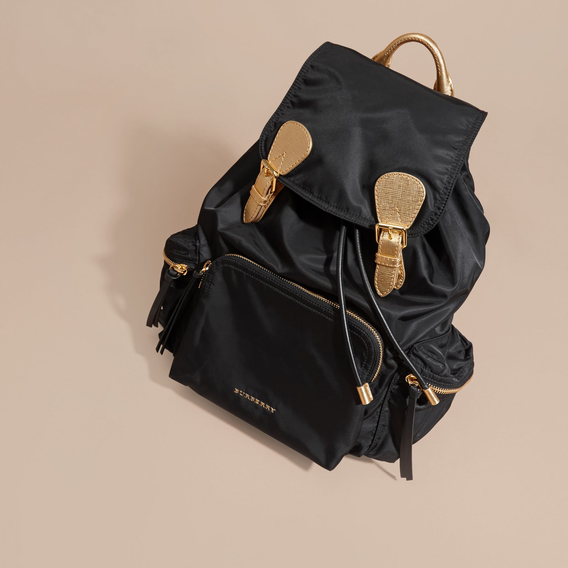 Black/gold The Large Rucksack in Two-tone Nylon and Leather - gallery image 8