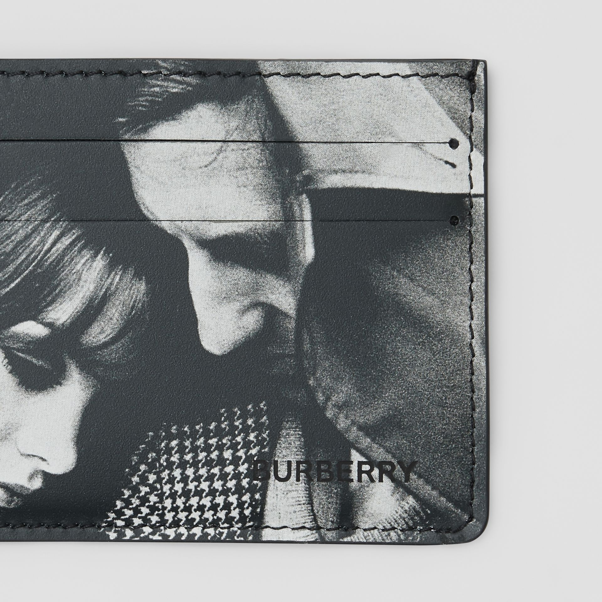 Archive Campaign Print Leather Card Case in Black/white | Burberry - gallery image 1