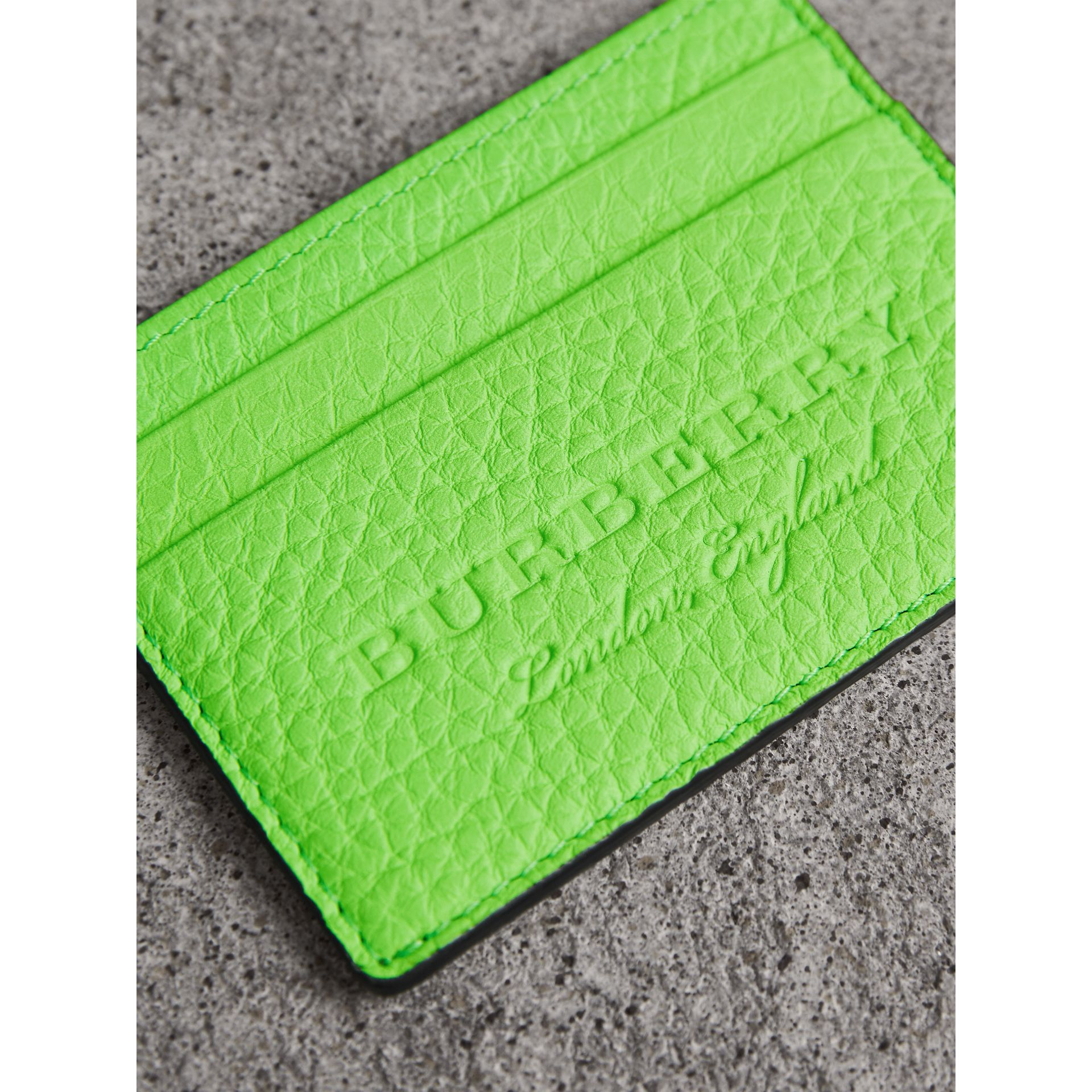 Embossed Textured Leather Card Case in Neon Green | Burberry - gallery image 1