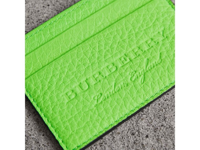 Embossed Textured Leather Card Case in Neon Green | Burberry United Kingdom - cell image 1