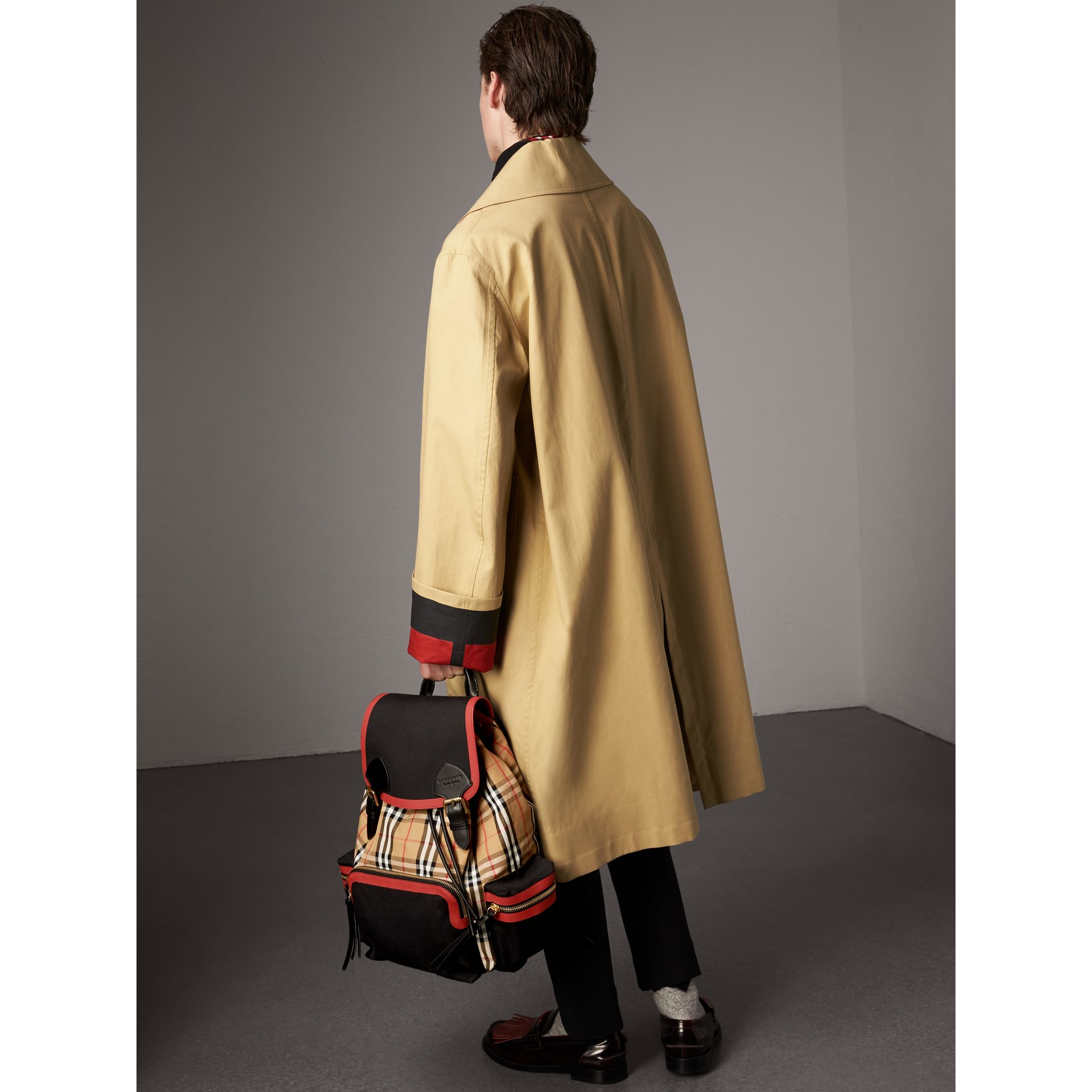 The Large Rucksack in Vintage Check and Leather in Antique Yellow | Burberry - gallery image 3