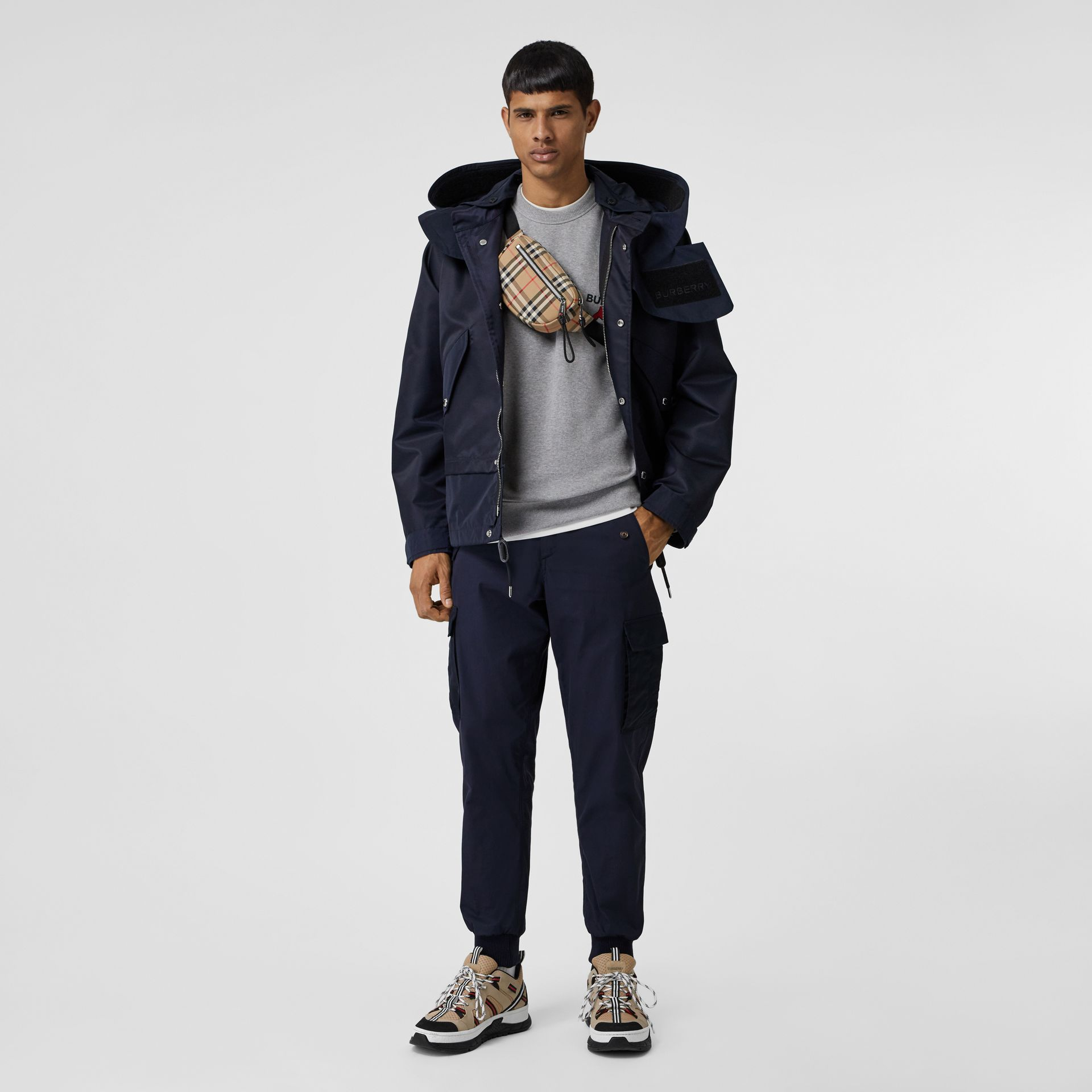 Cotton Tapered Cargo Trousers in Navy - Men | Burberry Australia - gallery image 0