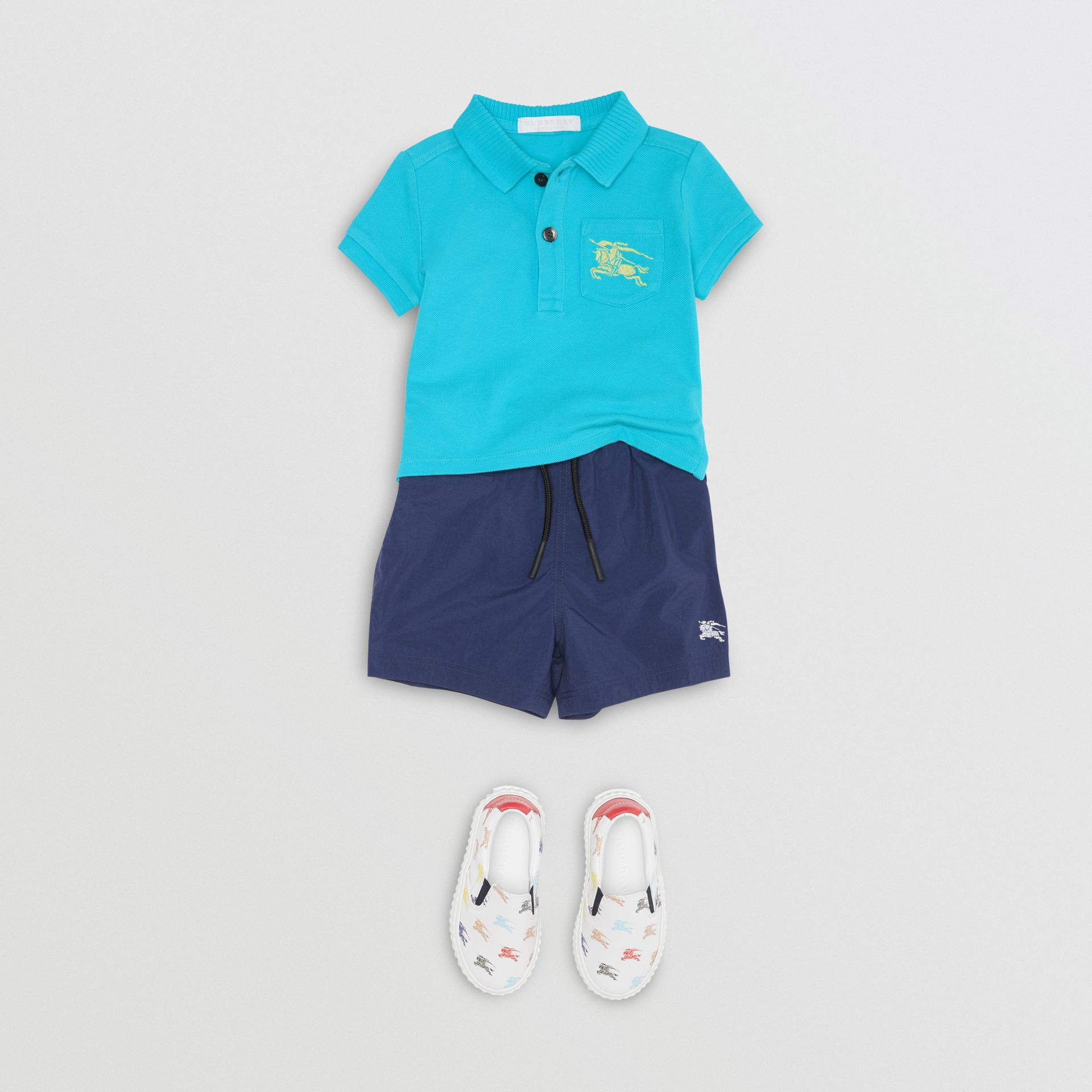 EKD Logo Cotton Piqué Polo Shirt in Bright Cyan Blue - Children | Burberry Australia - gallery image 2