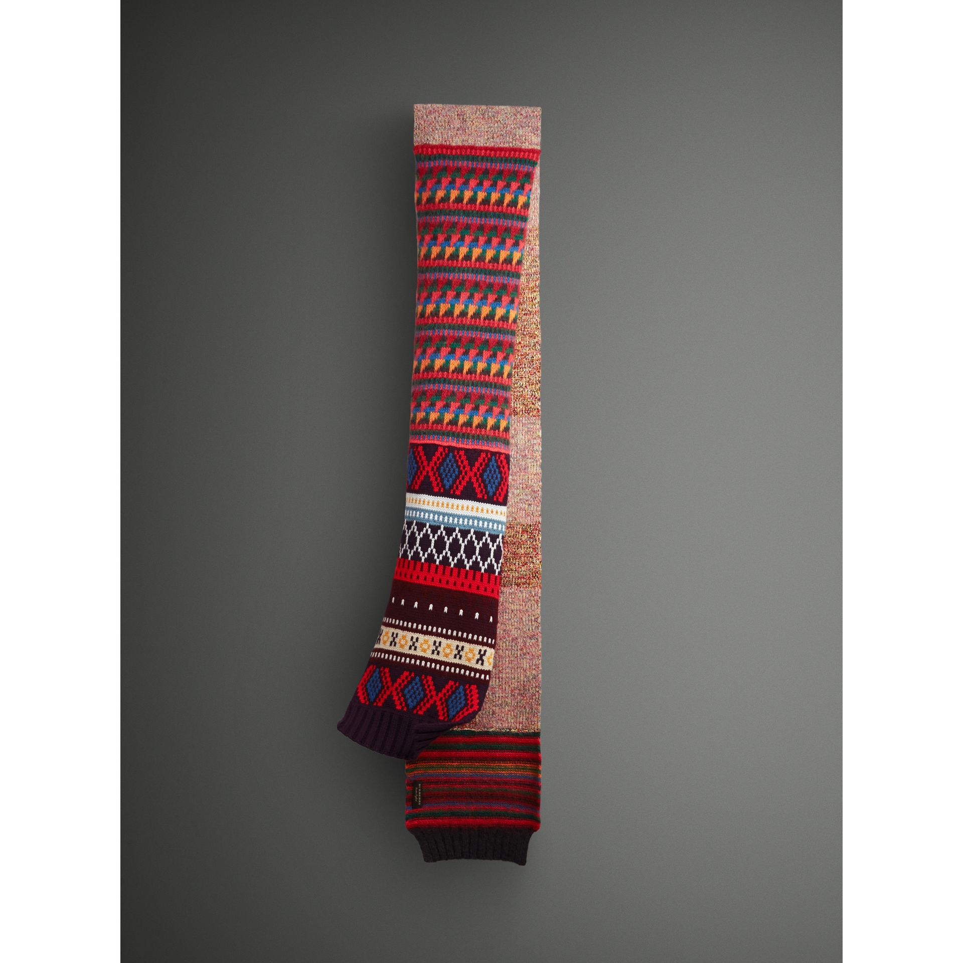 Long Patchwork Cashmere Mouliné Scarf in Multicolour | Burberry - gallery image 1
