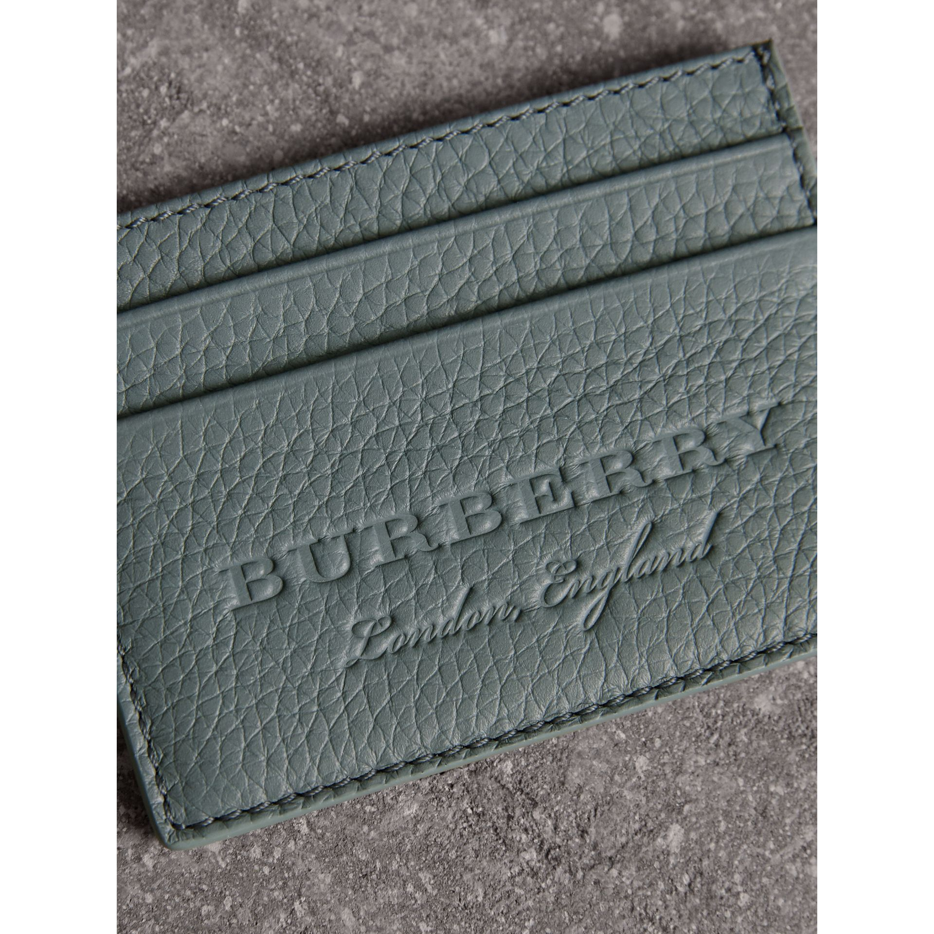 Textured Leather Card Case in Dusty Teal Blue - Men | Burberry - gallery image 1