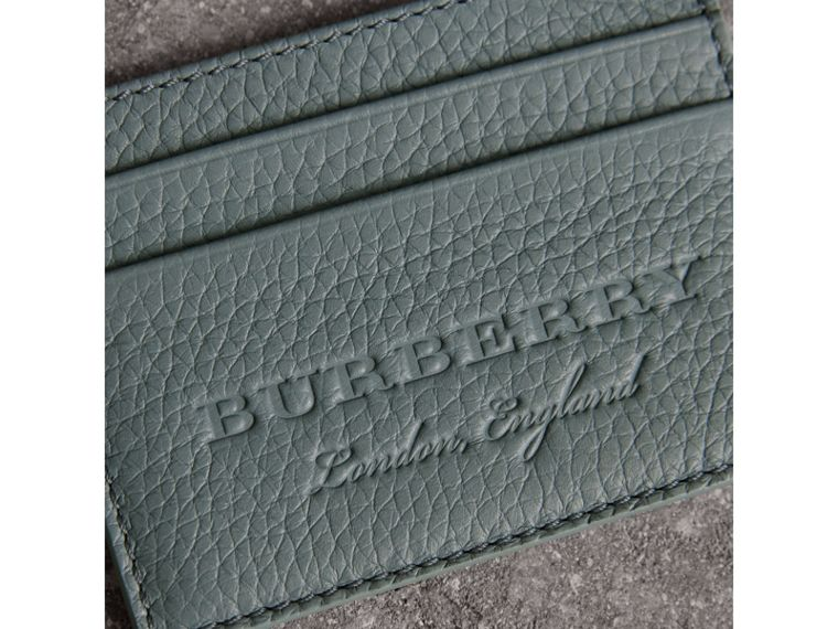 Textured Leather Card Case in Dusty Teal Blue | Burberry United States - cell image 1