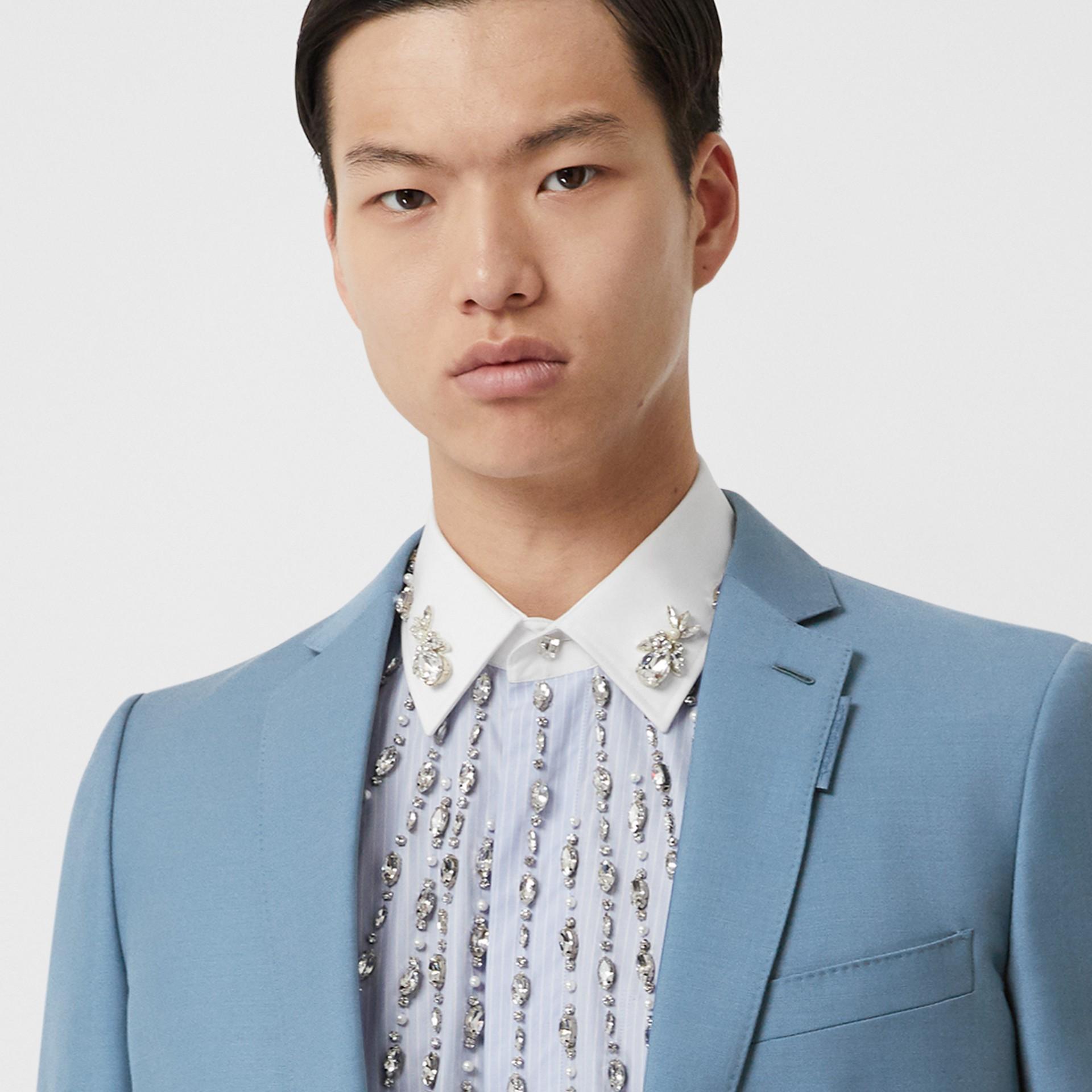Пиджак в английском стиле из шерсти и мохера (Стальной Синий) - Для мужчин | Burberry - изображение 4