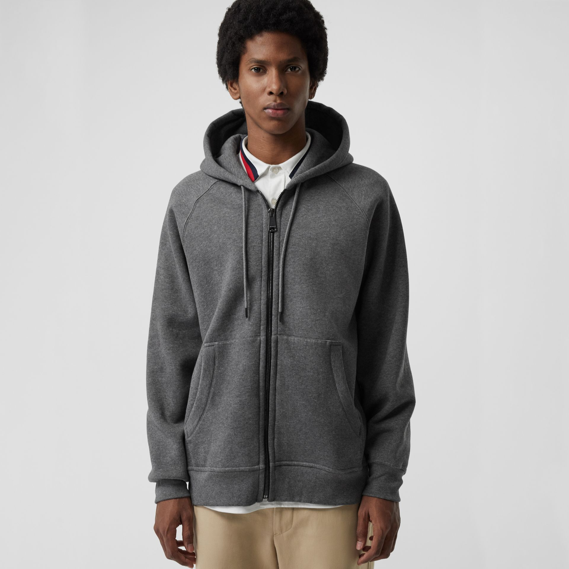 Embroidered Logo Jersey Hooded Top in Mid Grey Melange - Men | Burberry - gallery image 0