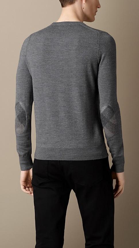 Mid grey mel Check Detail Merino Wool Sweater - Image 2
