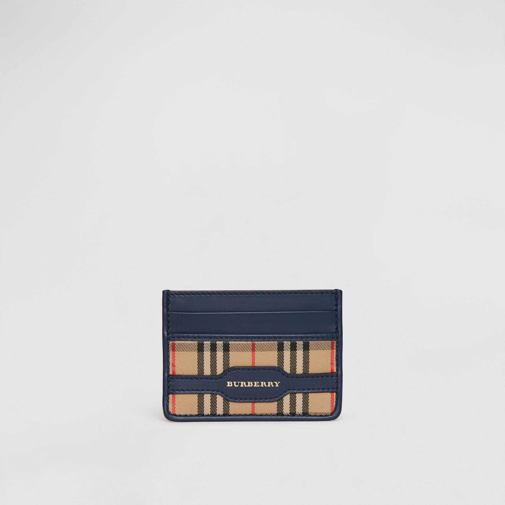 1983 Check and Leather Card Case in Ink Blue - Men | Burberry - gallery image 0
