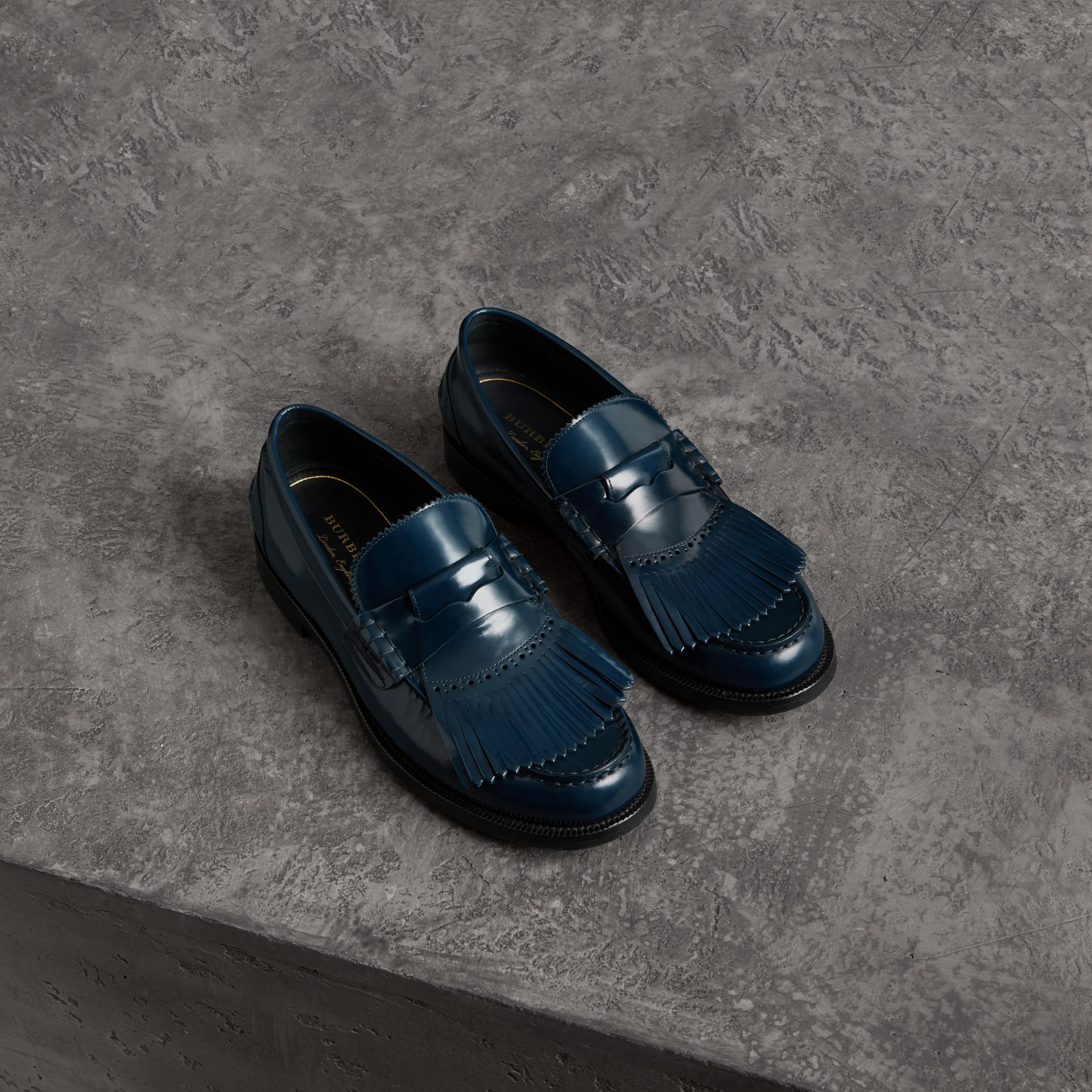 Kiltie Fringe Leather Loafers in Navy - Men | Burberry United Kingdom - gallery image 0